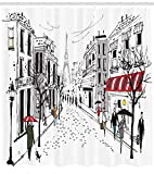 Abakuhaus Duschvorhang, Paris Illustration Alt Frankreich Place De La Concorde Fußgänger Einkaufs Schwarz-Weiß Druck, Wasser und Blickdicht aus Stoff mit 12 Ringen Schimmel Resistent, 175 X 200 cm