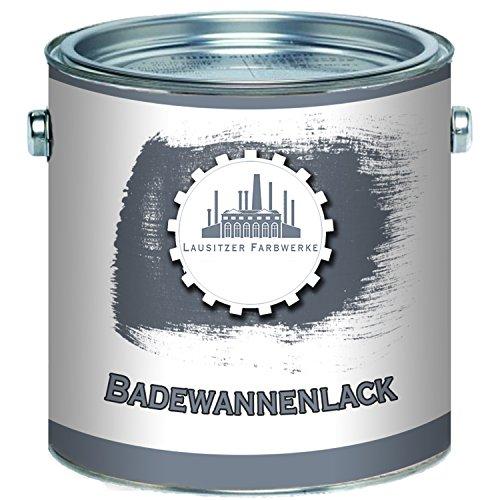 Lausitzer Farbwerke traditioneller 2K Badewannenlack GFK-lack Emaille Beschichtung hochwertiger Speziallack Wanne Waschbecken Duschwanne Badewanne Fliesenlack (2,5 kg, Weiß)