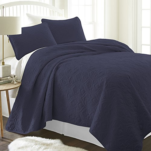 Simply Soft SS-Qlt-DA-K-GR Bettwäsche-Set für King-Size-Bett/California King Size, Grau Modern King Damask Navy - Quilt King Navy California