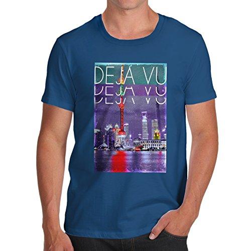 TWISTED ENVY Déjà Vu City Men's Funny 100% Cotton T-Shirt, Crew Neck, Comfortable and Soft Classic Tee with Unique Design