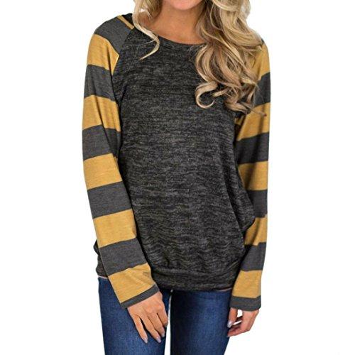 Camicetta Donna,Kword Camicetta A Maniche Lunghe Donna Felpa Donna Casual T-Shirt Sciolto Camicetta Elegant Grigio scuro