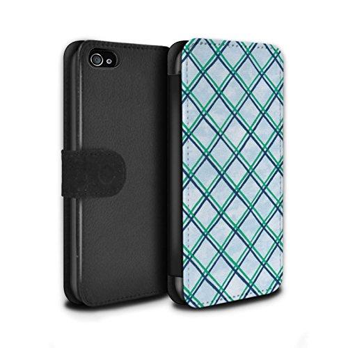 Stuff4 Coque/Etui/Housse Cuir PU Case/Cover pour Apple iPhone 4/4S / Bleu/Violet Design / Motif Entrecroisé Collection Vert/Bleu