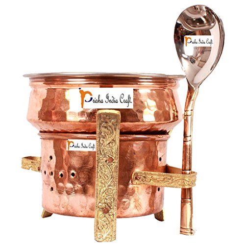 Prisha India Craft ® Set of 1 Copper Sigdi angeethi with Brass Stand & 1 Steel Copper Handi casserole with 1 Serving Spoon - Diwali Gift with WOODEN KEYRING  available at amazon for Rs.1320