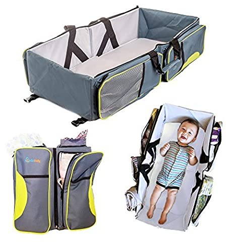 Travel Bassinet - 3 in 1 Portable Changing Station, Travel Crib, & Diaper Bag | Bonus Bed Sheet & Stroller Attachment | Perfect Travel Bassinets for Babies & Travel