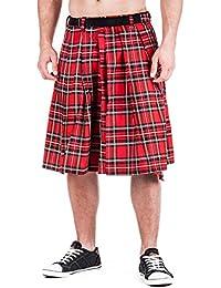 Falda escocesa de tartán rojo hasta 4XL