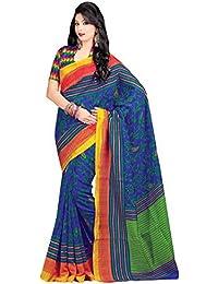 Miraan Women's Cotton Saree With Blouse Piece (Srh1527,Blue,Free Size)