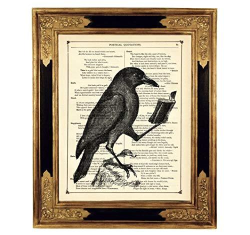 othic Kunstdruck auf antiker Buchseite Geschenk Leseratte Geburtstag Halloween Poster Bild Steampunk ungerahmt ()