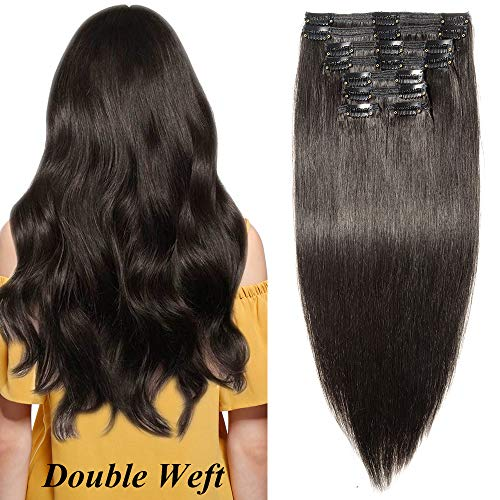 Clip in Extensions Echthaar Haarverlängerung Haarteil Doppelt 8 teiliges SET Remy Haar Naturschwarz #1B 24