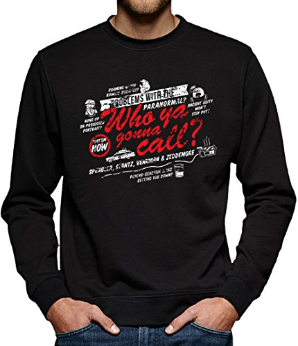 TLM Paranormal? Who ya gonna call? Sweatshirt Pullover Herren S (Party Ghostbuster Stadt Kostüm)