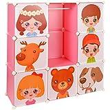 Armario estantería para la ropa, perchero para el pasillo, para niños, Ropero Aparador Estante en pink con motivos de animales