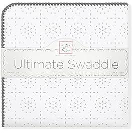 SwaddleDesigns Ultimatives Pucktuch, Premium Baumwollflannell, Silberne Wunderkerzen, Silberfarben