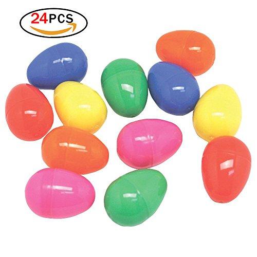Hemore 24 Packungen Plastik helle Ostereier Verschiedene farbige Party-Vorräte für osterjagd