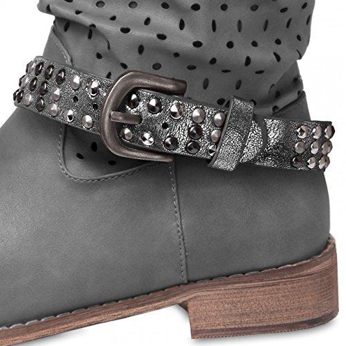CASPAR - Bijou de botte et chaussure pour femme avec clous/rivets - plusieurs coloris - STB006 argenté foncé métallique