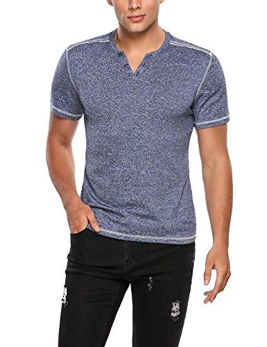 HOTOUCH Herren Kurzarm Henleyshirt Casual T-Shirt mit Knopfleiste Freizeit Typ1_Dunkel Blau