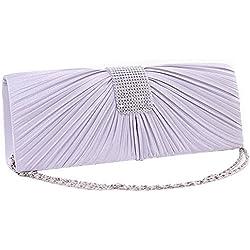 Bolso de Mano en color Blanco con detalle plisado