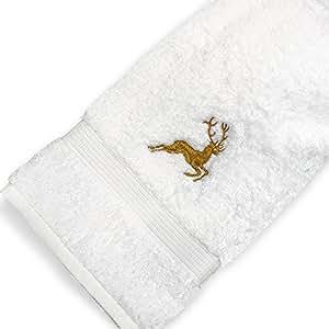 Drap de douche 70x130 cm HIRSH Blanc/Or 600 g/m2