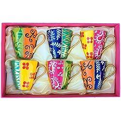 Juego de Seis Tazas de café de fina porcelana blanca y translúcida. Pintadas a Mano, Caja de Regalo