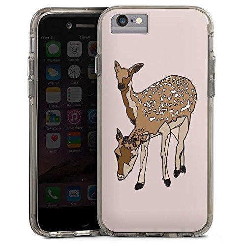 Apple iPhone X Bumper Hülle Bumper Case Glitzer Hülle Reh Deer Rehe Bumper Case transparent grau