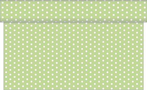 Tischläufer Iris / 40 cm x 24 m / viele Farben - Design mit weißen Punkten /Airlaid Einweg Tischläufer hochwertig (Hellgrün)