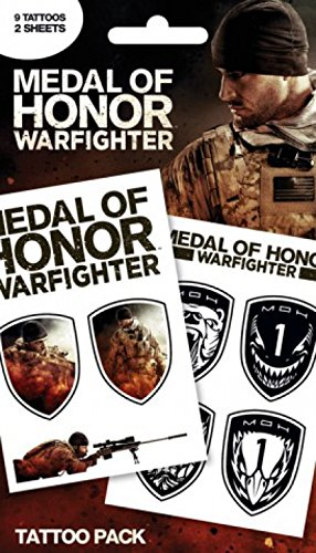 1art1 61932 Medal of Honor - Pack 1, 9 Tattoos Tattoo Pack 17 x 10 cm