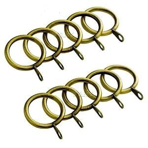 VA 12 Stück Metall Vorhangringe Stange Gardinenstange Voile Netz Vorhänge Gardinenstange Hängende Ringe 38 mm Innendurchmesser Messing antik-Optik