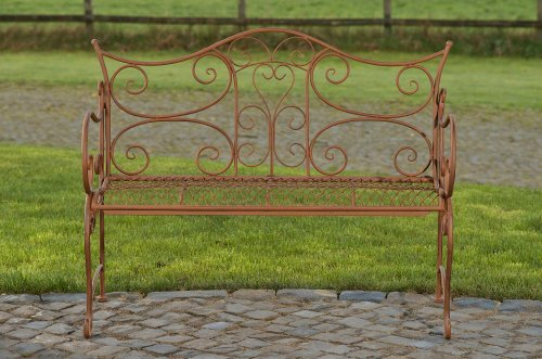 CLP Gartenbank TARA, Landhaus-Stil, Eisen lackiert, Design antik,113 x 47 cm, bis zu 5 Farben wählbar Antik Braun - 2