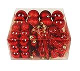 HAAC 58er Set Baumschmuck Baumkugel mit Eiszapfen, Tannenzapfen Farbe rot