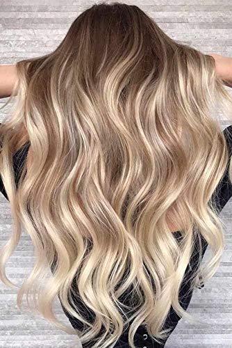 Ugeat 24zoll Tape Extensions Echthaar 50G 20Pcs Haarverlängerung Echthaar Tape Balayage Farbe Braun mit Blondine (Tape-haar-extensions Burgund)