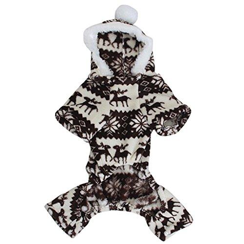 Sweatshirt Mit Kapuze Hund Flauschigen Mantel Overall W / Rentier Und Schneeflocke - Größe M