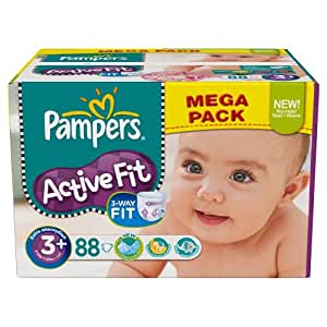 Ancienne version pampers - 81373238 - Active Fit Couches - Taille 3+ Midi+ - 5-10 kg - Mégapack x 88 Couches