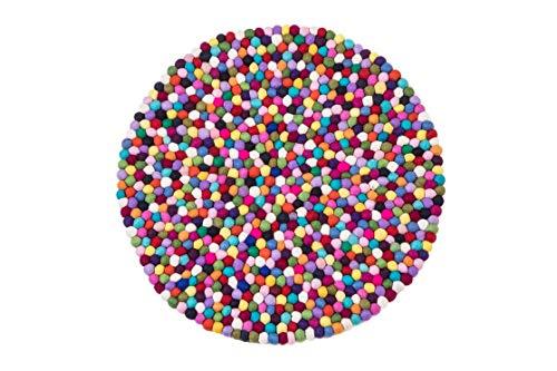 generisch Filzkugelteppich rund & bunt, Ø 60cm, 100% Wolle, handgefertigtes Unikat (Ø 90 cm)