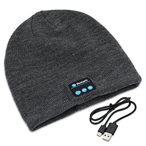 PsmGoods® Bluetooth Musik-weiche warme Beanie mit Stereo-Kopfhörer-Headset Lautsprecher drahtlosen Mic Hands-free für Mann-Frauen-Weihnachtsweihnachts Geschenk Tief Grau (tief Grau) Test