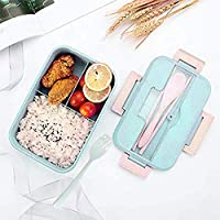 Bento Box for Kids,Lunch Box Lunch Container for Adults,Leakproof 3 Compartments,Made by Wheat Fiber Microwave Safe,Divided Food Storage Container with Lid&Free Spoon&fork&chopsticks(Green)