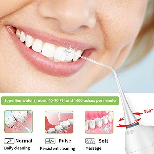 Wasser Munddusche, BROADCARE Mundspülgerät Kabellos für Reisen portabel Interdentalreiniger Zahnseide für Zahnspangen akkubetrieben Zahnreiniger mit 2 Aufsätzen