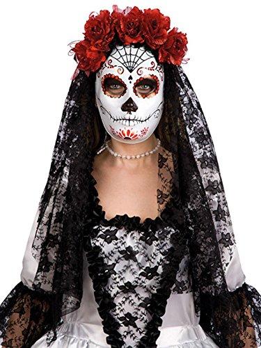 KULTFAKTOR GmbH Dia de los Muertos Halloween Maske Spinnennetz mit Schleier Weiss-rot-schwarz Einheitsgröße