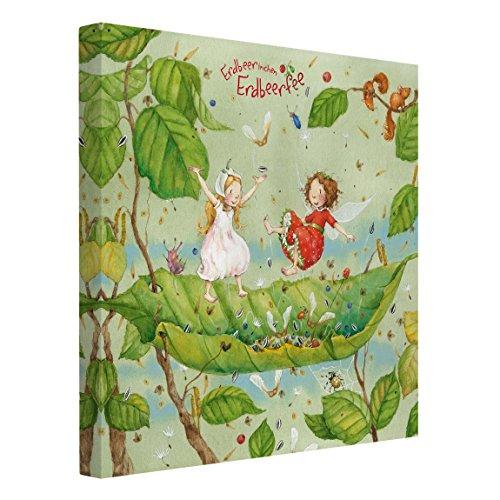 Bilderwelten Leinwandbild - Erdbeerinchen Erdbeerfee - Trampolin - Quadrat 1:1, 30cm x 30cm