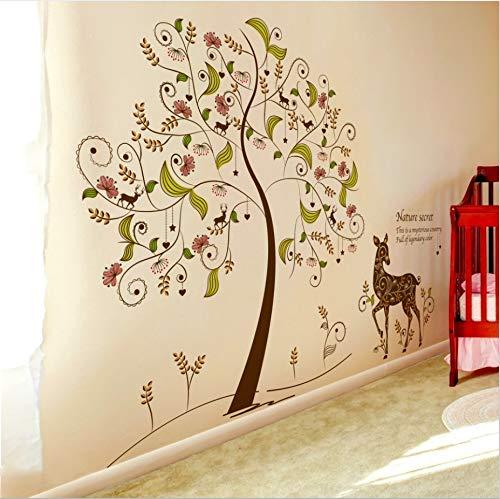 KUANGJING Kinderzimmer wandaufkleber Farbe Geheimnis Baum wandaufkleber Wohnzimmer Sofa TV Hintergrund Dekoration abnehmbare Selbstklebende Papier