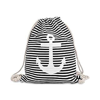 Turnbeutel Sportbeutel Hipster Rucksack Maritim Anker Sporttasche Beutel von ALSINO, Variante wählen:RU-m10 schwarz Anker weiß