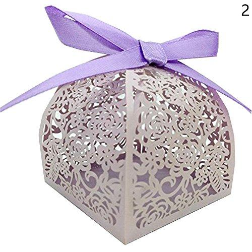 Blue Vessel 10 Stück Spitze Laser Cut Kuchen Süßigkeiten Geschenkboxen mit Ribbon Wedding Favor Boxen (violet) (Blue Wedding Favor Boxes)