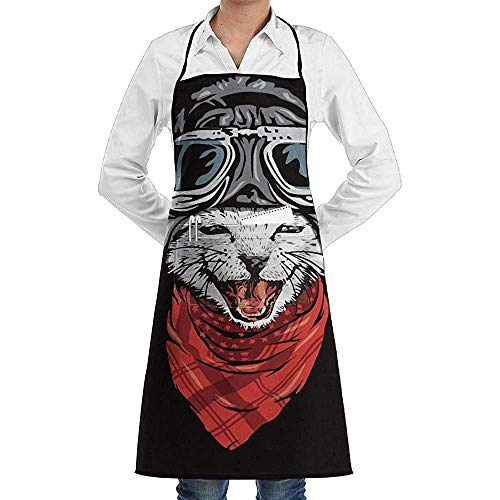 Kostüm Pilot Süß - UQ Galaxy Gärtnerschürze,Cartoon Cat Pilot Lächeln Schürze Lace Unisex Chef verstellbare Lange vollschwarze Küche Schürzen Lätzchen mit Taschen zum Backen Crafting BBQ