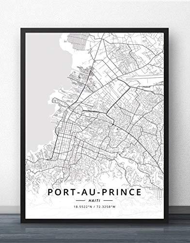ZWXDMY Leinwand Bild,Haiti Port-Au-Prince Stadtplan Schwarz Weiß Einfache Abstrakte Buchstaben Line Print Leinwand Gemalt Poster Rahmenlose Wandbild Kaffee Haus Dekoration Studie, 70 X 100 cm