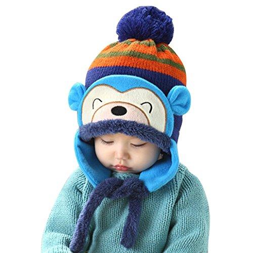 Happy cherry - Gorro Gorra Sombrero de Lana Invierno Otoño Caliente para Bebés niños niñas - Azul