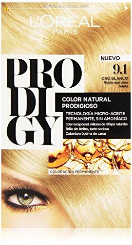 L'Oreal Prodigy Coloración Permanente - Tinte, color 9.1-oro blanco 4 pz, 200 gr