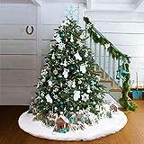 AMADE Jupe de Sapin de Noël Blanc Peluche Neige Décorations d'arbre de Noël Tapis Vacances Couvre Pied Sapin Noel (122cm)...