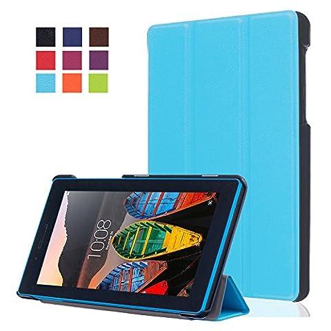 Etui Lenovo Tab3-710,Protection pour Tablette Lenovo TAB3 7 Essential ,Folio Case Cover avec Support étui en Cuir Coque pour Lenovo Tab 3 7 Essential (Tab3-710) / Tab3 A7-10 7''Pouces Tablette,Bleu
