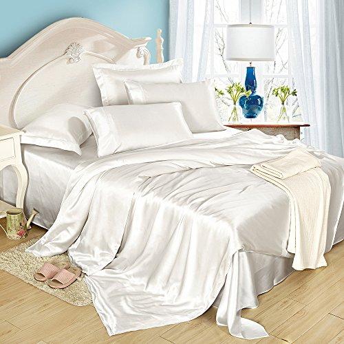 Lilysilk Funda Nórdica Sin Costura De Seda De 19 Momme Para Cama 180(Cama King),260X240cm,Blanco