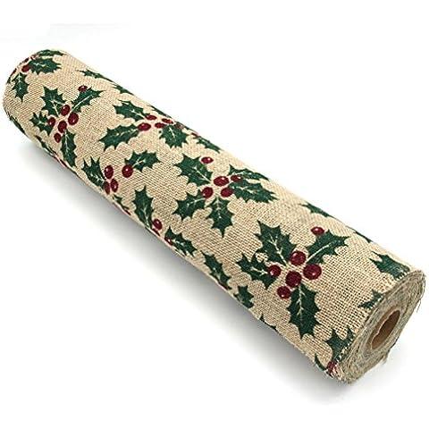 FENICAL Natale nastro della tela di iuta della tela da imballaggio nastro foglia stile stampa per la decorazione di Natale
