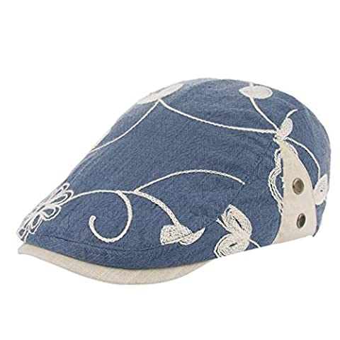 Ouneed Women Retro Flowers Embroidery Berets Cap Hat Flat Caps
