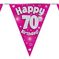 fashioncrazexx Eleganza Pink Blue Holographic 3.9m Foil Birthday Flag Banner Bunting Age 1-90