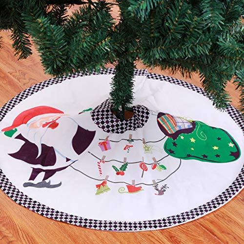 Weihnachtsbaum Decke, Weihnachtsmann Gedruckt Weihnachtsbaum Rock Dekoration Kariert Drucken Weihnachtsbaumdecke Weihnachtsbaum Röcke Weihnachtsschmuck Weihnachtsbaum Deko Weihnachtsdeko (Weiß#90cm) (Rock Kreis Karierte)
